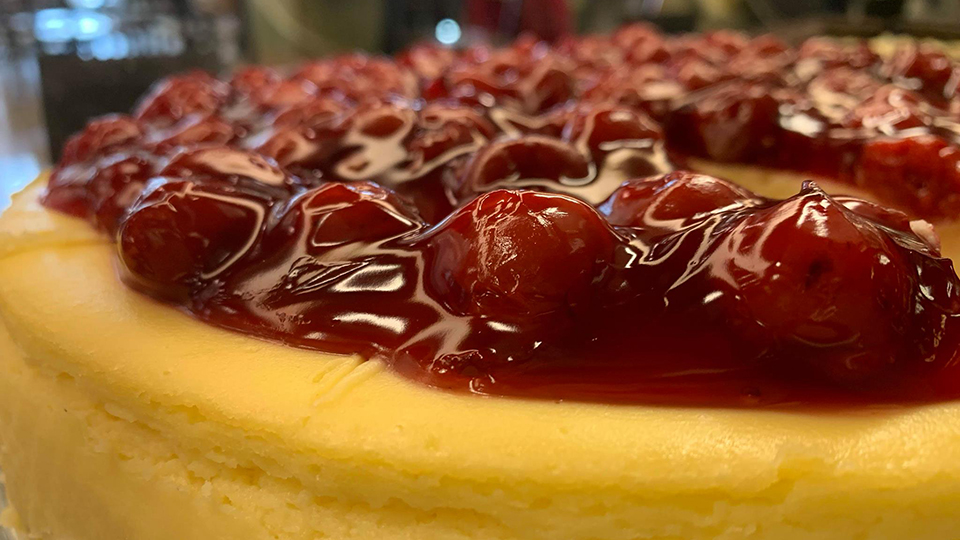 Cheese Cake with Cherries at Sophia's
