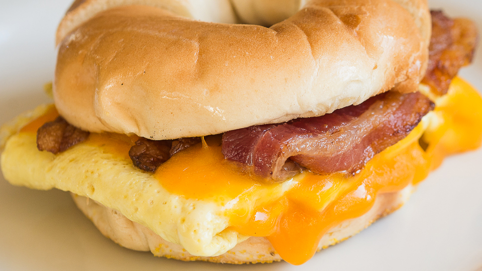 Egg & Cheese Sandwich with Bacon on a Bagel