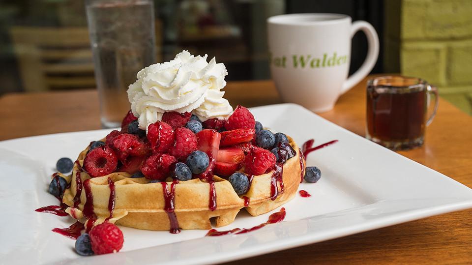 Belgian Waffles with Fresh Raspberries & Blueberries