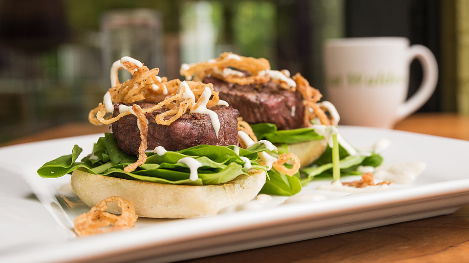 Filet Mignon on English Muffins with Crispy Onions