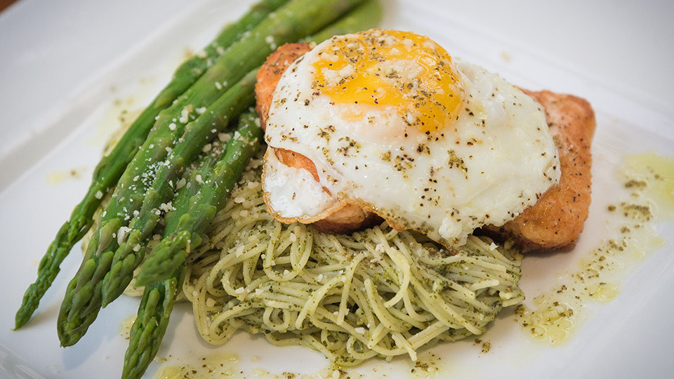 Salmon & Egg Over Pasta