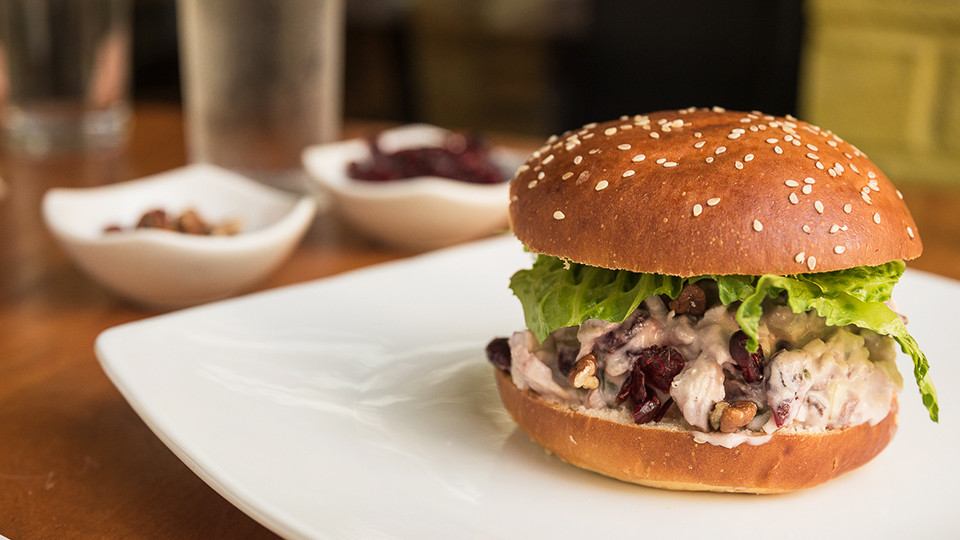 Cranberry Pecan Chicken Salad on Greek Sweet Roll